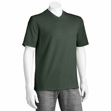 CROFT&BARROW SZ 2XB BIG&TALL MEN SHORTSLEEVE V-NECK SHIRTGREEN 60%CTN/40%POLY