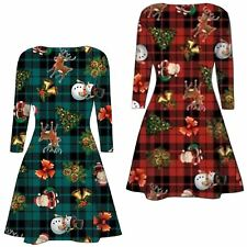New Womens Tartan Xmas Santa Snowman Gift Bells Christmas Swing Dress