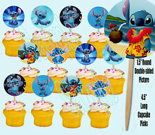 (Lilo and) STITCH ONLY Disney Double-Sided Cupcake Picks Cake Toppers -12 pcs