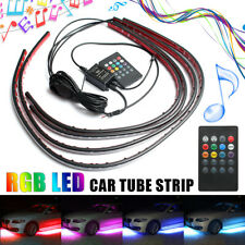 4Pcs RGB LED Strip Under Car Tube Underglow Underbody Rock Neon Light Kit 12V