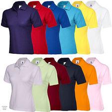 Ladies Short Sleeve Plain Uneek Smart Casual Work Polo Shirt Top Uc106 Navy L