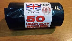 50 HEAVY DUTY BLACK REFUSE SACKS STRONG THICK RUBBISH BAGS BIN LINERS LARGE