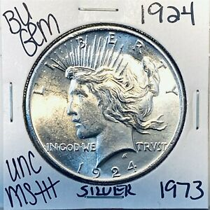 1924 P BU GEM PEACE SILVER DOLLAR UNC MS+ GENUINE U.S. MINT RARE COIN 1973