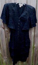 Vintage 1980s Carole M. Studio Black Dress Size 12