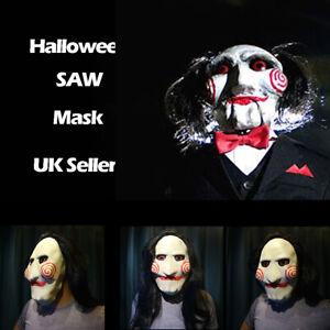 Latex Saw Billy Mask Puppet Full Head Halloween Scary Tobin Bell Jigsaw Mask UK