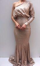Forever Unique Gold Tempest Sequin One Shoulder Maxi Evening Dress 10 38 US 6