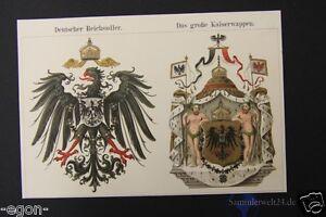 Deutscher Reichsadler großes Kaiserwappen   Chromolithographie um 1890