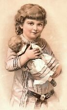 1880's German & English Kendall Dirt Killer Soap Girl & Doll Trade Card *D