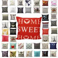 Vintage Soft Linen Pillow Case Sofa Car Waist Throw Cushion Cover Home Decor