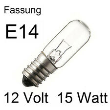 3x Glühlampe Glühbirne Lampe Röhre Spezial Ersatz E14 12V 15W 52x16mm 275413