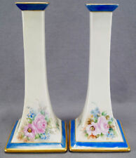 Pair of B & C Limoges Hand Painted Signed DM Hine Pink Rose Candle Sticks