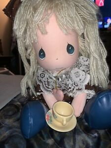 """1988 Precious Moments BRiTTANY WITH locket and Tea cup 14""""God Loves you"""""""