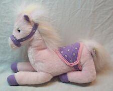 "Aurora Soft Cute Pink & Purple Horse W/ Saddle 12"" Plush Stuffed Animal Toy"