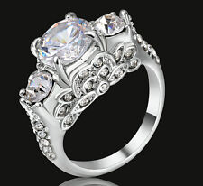Size 6 White Sapphire CZ Wedding Engagement Band Ring silver Platinum Plated