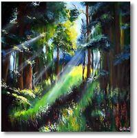 "Moderne Kunst Handgemaltes Wandbild ""Waldweg"" Naturmalerei Art.Nr. 949"