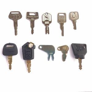 Heavy Equipment Key Set 10 Keys Case CAT JD Komatsu Hitachi Takeuchi OEM Logo