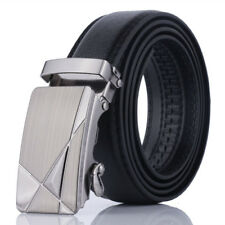 Fashion Men Waist Belt Automatic Buckle PU Leather Black Business Waistband Gift