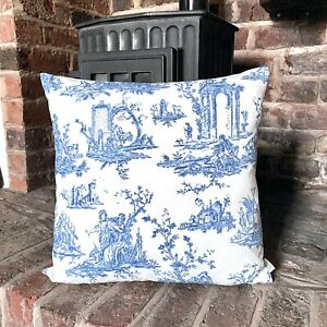 1039. Indigo Blue Toile De Jouy 100% Cotton Cushion Cover, Various sizes