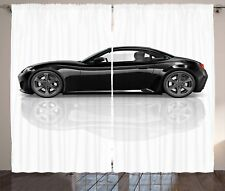 Cars Curtains Sports Car in Black Color Window Drapes 2 Panel Set 108x84 Inches