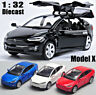 1:32 Tesla X 90D SUV Diecast Model Car Sound Light Collection Pull Back Toy Gift