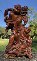 ANTIQUE CHINESE CARVED ROSEWOOD MEIJI LOHAN MUDMEN Buddha GOD ebonized BURL WOOD