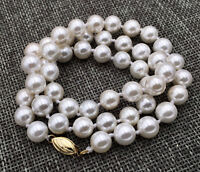 Aaa 8mm White South Sea Shell Pearl Necklace 18""