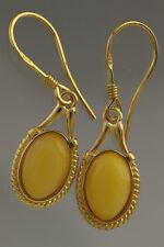 Egg Yolk Genuine BALTIC AMBER Gold Plated Silver Earrings 3.3g 180611-2