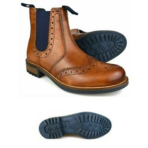 MENS REAL LEATHER ANKLE BOOTS TAN CHELSEA BROUGE DEALER SLIP ON CASUAL SHOE SIZE