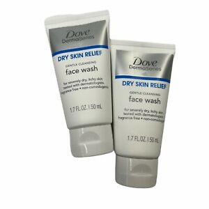 Dove DermaSeries Face Wash Dry Skin Relief 1.7 oz 50 mL 2 Pack