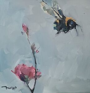 JOSE TRUJILLO Oil Painting IMPRESSIONISM ORIGINAL BEE FLOWER FLORAL COLLECTIBLE