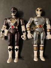 Lot Of 2 Power Rangers 8? Metallic Chrome  And Metallic Black Ranger Bandai Rare