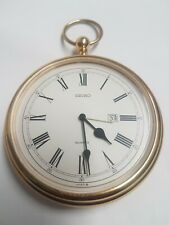 Working Vintage Large Gold Plated Pocket Watch 10x14cm