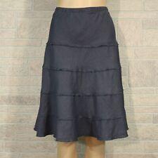 Soft Surroundings Summer Fun Skirt MEDIUM Misses Gray Tiered Ruffle 100% Linen