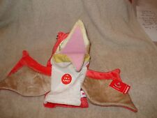 "Plush Pteranodon Dinosaur Stage Puppet By Aurora Orange 10""x16"" Wing Span NWT"