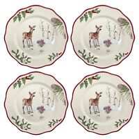 "Better Homes Gardens Heritage 4 Salad Plates 9"" Holly Fawn Christmas Dinnerware"