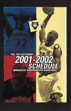 Kevin Garnett--Minnesota Timberwolves--2001-02 Pocket Schedule--McDonald's