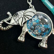 Silver Tone Elephant Key Chain Purse Handbag  Charm Aqua Blue Beads USA Seller