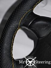 FOR NISSAN SILVIA S12 PERFORATED LEATHER STEERING WHEEL COVER YELLOW DOUBLE STCH