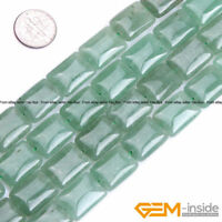 "Natural Green Aventurine Gemstone Rectangle Beads For Jewelry Making Strand 15"""