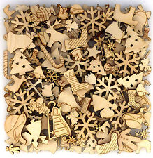 Over 100 Small Wooden Christmas Craft Shape 3 mm Plywood 1-4cm Size Xmas