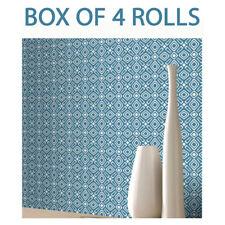 Blue White Geometric Wallpaper Modern Retro Shapes Vibrant Bright Luxury Rasch