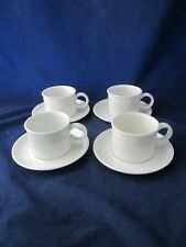 WEDGWOOD MIDWINTER Stonehenge White Cup & Saucer Set of 4 Square Mark ~EXCELLENT