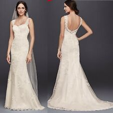 ea4b14bbacca2 NWT David's Bridal Wedding Gown Dress Size 10 White Lace & Tulle