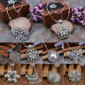Bohemian Silver Flower Pendant Tibetan Long Necklace Vintage Enthic Jewelry New