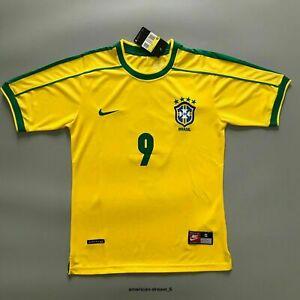 New Ronaldo Fans 1998 Brazil Yellow Retro Jersey Home Football Shirt Ronaldo #9