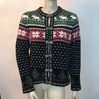 Croft & Barrow Winter Cardigan Knit Nordic Holidays Fair Isle Snowflake VTG S