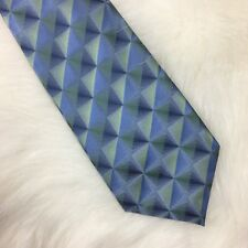 Van Heusen Men's Neck Tie 100% Silk Geometric Blue Green Diamond Stain Resistant