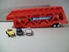 VINTAGE MICRO MACHINES CAR CARRIER HAULER TRAILER & 3 CARS GALOOB MERCEDES 1988