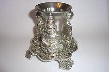 Three Budha oil burner - Made of base metal -silver polished - detailed