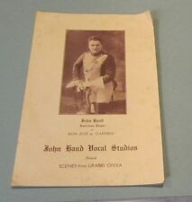 1920 Era John Hand American Tenor Carmen Grand Opera Concert Program New York